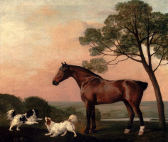 George Stubbs. The stallion and two dogs