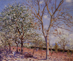 Alfred Sisley. Plum and walnut trees in spring