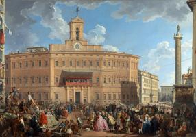 Джованни Паоло Паннини. Лотерея на площади Пьяцца ди Монтечиторио