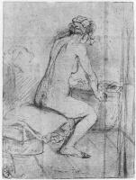 Рембрандт Ван Рейн. Обнаженная натурщица, опирающаяся руками на край корзины