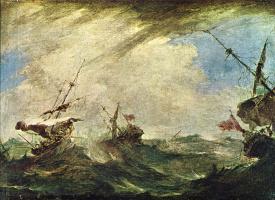 Francesco Guardi. Ships in a storm