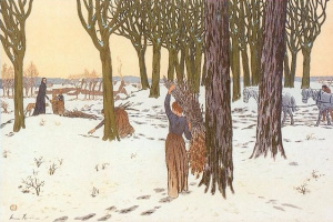 Анри (Henri) Ривьер (Rivière). Зима. Собиратели дров (Hiver. Ramasseuses de fagots)