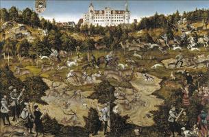Лукас Кранах Старший. Оленья охота в честь короля Карла V близ замка в Торгау