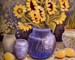 Мишель Бедард. Синяя ваза с цветами