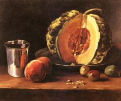 Франсуа Бонвэн. Натюрморт с тыквой и персиками