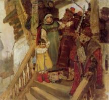 Виктор Михайлович Васнецов. Арест Марфы Посадницы с внуком Василием Федоровичем в Новгороде в 1478 году. Эскиз