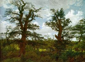 Каспар Давид Фридрих. Пейзаж с дубами и охотник