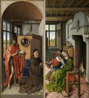 Робер Кампен. Триптих Верля. Две створки: Святая Варвара, Иоанн Креститель и донатор Генрих фон Верль