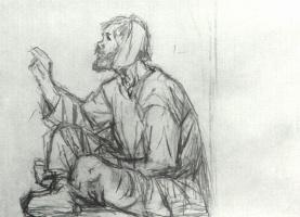 Василий Иванович Суриков. Юродивый, сидящий на земле