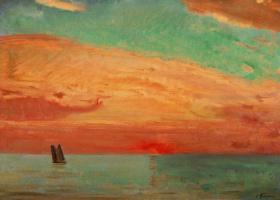 Fujima Takeuka. Sunrise over the sea of Japan