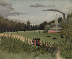 Анри Руссо. Пейзаж и четыре молодые девушки
