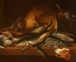 Исаак ван Дуйнен. Натюрморт с рыбой, котом и собакой