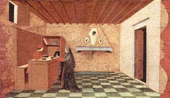 Паоло Уччелло. Легенда о причастии. Женщина выменивает у еврейского купца просфору на платье