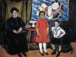 Семейный портрет (на фоне китайского панно)