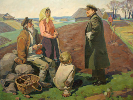 Mikhail Emelyanovich Andreychuk. Lenin among the peasants