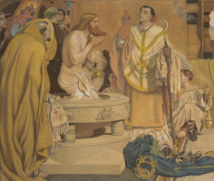 Форд Мэдокс Браун. Крещение Эдвина, короля Нортумбрии. Фрагмент. Купель