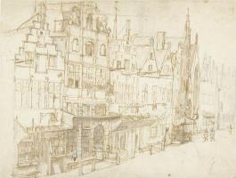 Карел Фабрициус. Вид на ряд домов города. Этюд