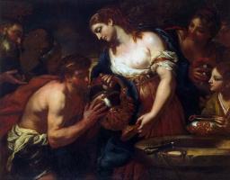Johann Carl Lot. Eleazar and Rebekah at the well