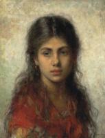 Алексей Алексеевич Харламов Россия 1840 - 1923. Девочка в красной шали.