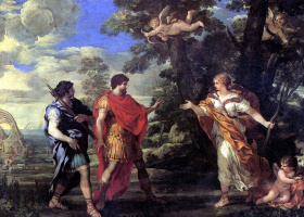 Pietro Da Cortona. Venus is Aeneas in the image of the goddess of the hunt