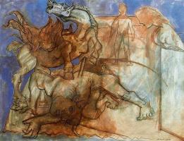 Ю. Пуджиес. Раненый Минотавр, лошадь и персонажи