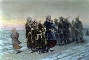 Василий Григорьевич Перов. Возвращение крестьян с похорон зимою