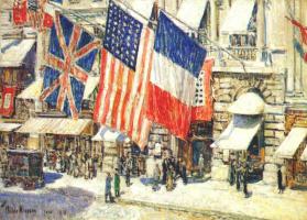 "Childe Hassam. Across the Avenue in sunlight, June series (""Flags"")"