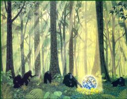 Уильям Шиммель. Шимпанзе в лесу