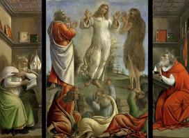 Sandro Botticelli. Transfiguration, St Jerome, St Augustine