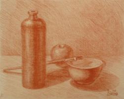 Лариса Луканева. Натюрморт с яблоком и кисточкой