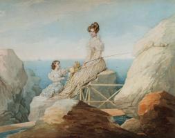 Peter Fedorovich Sokolov. Portrait of Empress Alexandra Feodorovna and Grand Duchess Maria Nikolaevna on the shore.