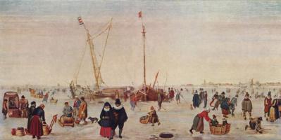 Хендрик Аверкамп. Зимний пейзаж, катание на коньках
