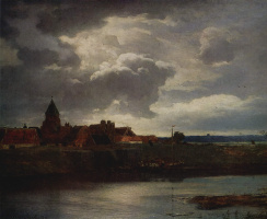 Андреас Ахенбах. Пейзаж с рекой