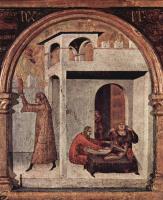 Симоне Мартини. Св. Людовик Тулузский возводит своего брата Роберта Анжуйского в сан короля Неаполитанского, пределла. Сцены из жития святого. Ф