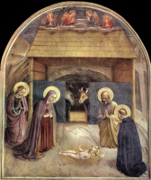 Фра Беато Анджелико. Рождество Христово. Фреска монастыря Сан Марко, Флоренция
