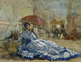 Эжен Буден. Женщина в синем платье под зонтиком