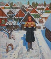 Евгений Александрович Казанцев. Frosty morning in the village.