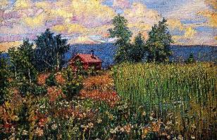 Давид Давидович Бурлюк. Пейзаж с розовым домом