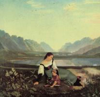 Адриан Людвиг Рихтер. Мать и дитя на лугу. Долина Инна близ Халля