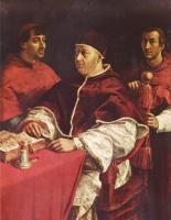 Рафаэль Санти. Портрет папы Льва Х с кардиналами Джулио деи Медичи и Луиджи деи Росси