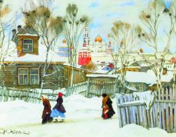 Konstantin Fedorovich Yuon. View of Trinity Lavra. 1916 white