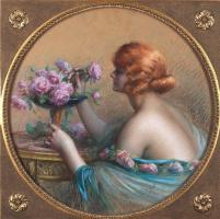 Дельфин Анжольра. Молодая дама составляет букет из роз