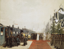 Mikhail Alexandrovich Zichy. Removal of the coffin with the body of Alexander III. State Hermitage, St. Petersburg.