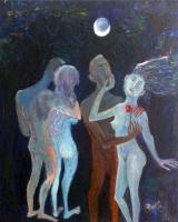 Zakir AHMED Ahmedov. Moonlight Night 2016year23x19in Original Painting Oil on Canvas