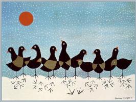 Джонатан Уинтерс. Птицы в снежный день