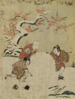 Судзуки Харунобу. Три мальчика с огромным снежком