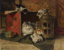 Генриетта Роннер-Книп. Кошка и играющие котята