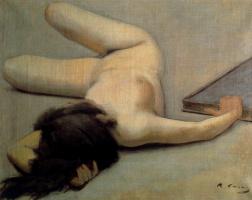 Рамон Касас Карбо. Лежащая обнаженная и картина