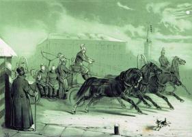 Николай Егорович Сверчков. Пожарные в Санкт-Петербурге ночью. 1845