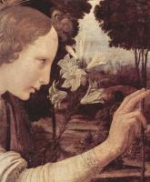 Леонардо да Винчи. Благовещение Марии, деталь: Благовествующий ангел